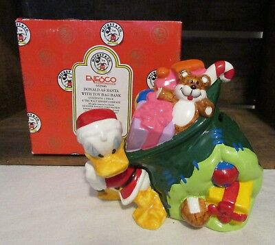 Enesco Disney's Donald Duck as Santa with Toy Bag Ceramic Bank #652946 in Box
