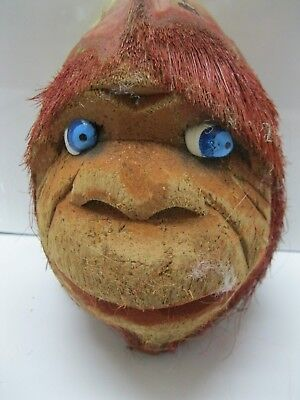 Vintage Mexican Hand Hewn Monkey Coconut Head Blue Eyes Hanging Red Hair