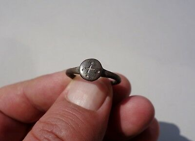 ancient Viking bronze ring, with cross carved on it, appropriate to wearable