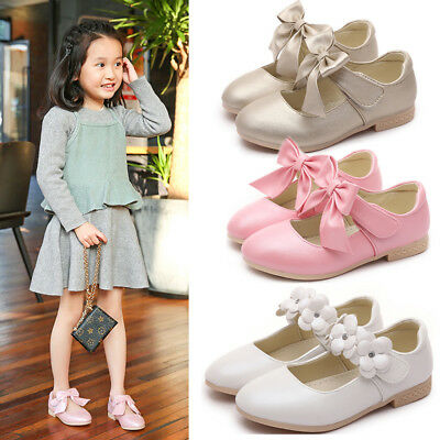 Infants Baby Girls Patent Glossy Satin Bow Toodler Wedding Flat Shoes Size 1-8