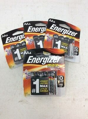 Lot of 4 New Energizer Max AA Alkaline Batteries Battery AA 4 Pack Exp 2027
