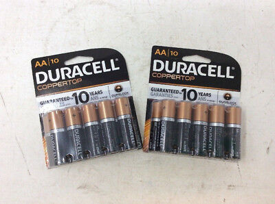 Lot of 2 Duracell AA 1.5v ALKALINE Batteries 10 Count New Exp 2025