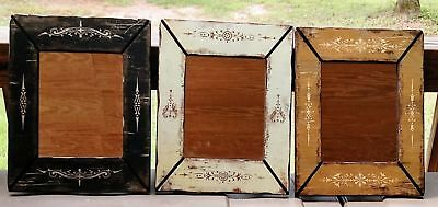 Set of 3 Rustic Distressed County Wood Framed Mirrors! 16 inch by 12 1/2 inch!