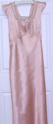 """1930""""s coral Satin Nightgown flutter sleeves Tie Back Waist lace bow shimmery"""