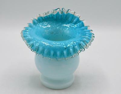 Beautiful Art Glass Jack In The Pulpit Vase Blue Cased Glass