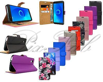 For Alcatel 1 5033X New Black Leather Wallet Phone Case Cover + Screen Protector