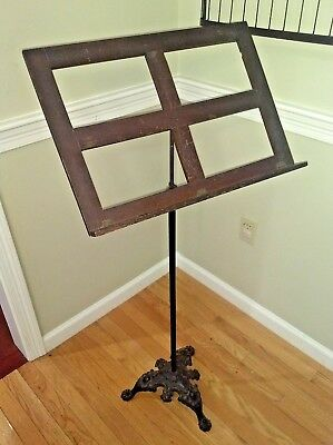 Antique Sheet Music Stand Oak Wood Cast Iron Ornate Claw Foot Base Adjustable