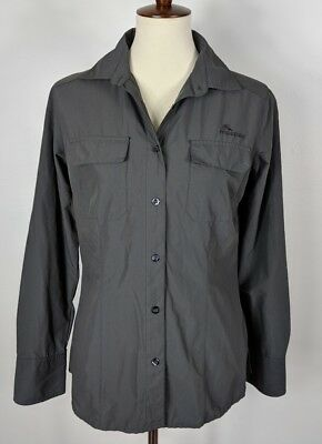Macpac Gray Button Down Nylon Blouse Hiking Camping Outdoors Womens Size 10 EUC