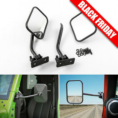 Side View Door Mirrors for Jeep Wrangler JK CJ YJ TJ 1997-16 Rectangular Mirrors