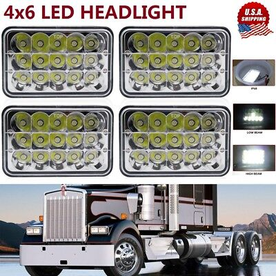 4X6'' inch LED Headlights Hi/Lo Light Bulbs Crystal Clear Sealed Beam Headlamp