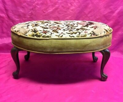 Antique Victorian Upholstered Footstool with Solid Brass Legs, Original Material