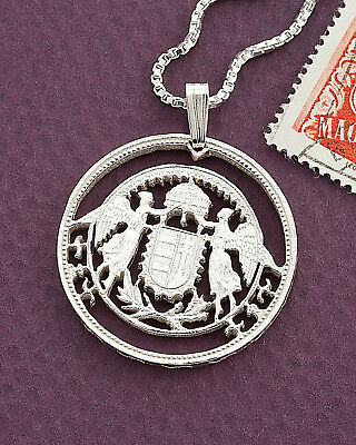 Silver Hungarian St Stevens Crown Pendant , Hungarian Coin Jewelry, ( # 158S )