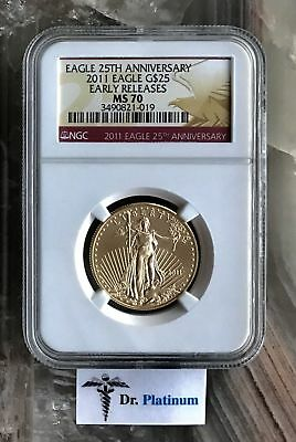 "2011 Eagle, US, NGC MS 70, ""Early Releases"", 1/2 oz Fine Gold Coin - DPSGC17"