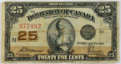 July 2nd 1923 Ottowa, Dominion of Canada 25c Twenty Five Cents Bill Currency