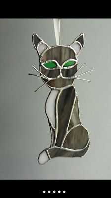 Cat Stained Glass. Suncatcher Handmade.catlover