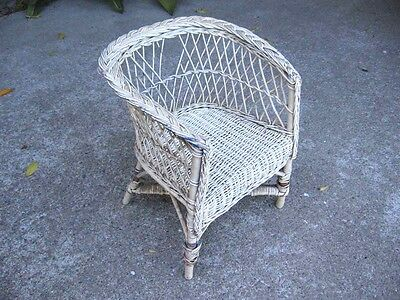 Wicker Chair Vintage Child's Children's  Antique Chair Wood Child Decorative