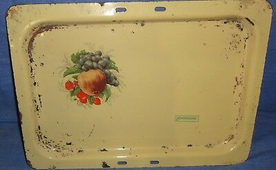 Vintage Old Collectible Fruits Printed Enamel Iron Johnson Tray