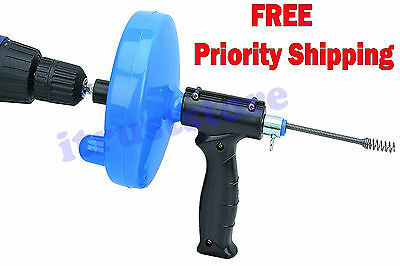 Extra Long CABLE Snake DRAIN CLEANER AUGER with Power Drill Attachment