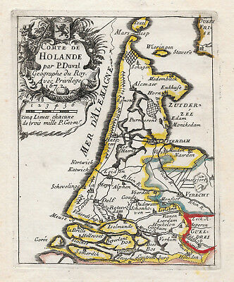 Original antique map of Holland from 1672 by Pierre Duval