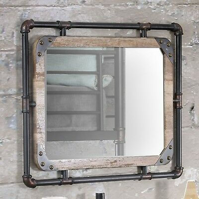 Industrial Wall Mirror Pipe Rustic Decor Bathroom Vanity Makeup Pipes Brackets