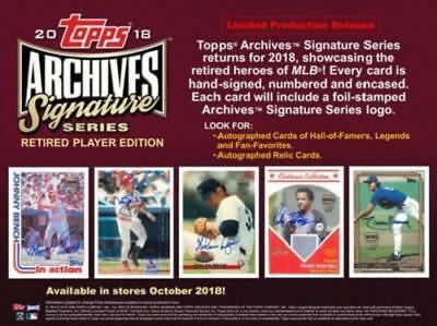 2018 Topps Archives Signature Series Retired Players Edition Hobby Box