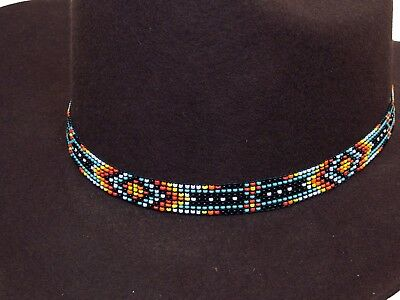 Western Vintage Beaded Hatband Stretch Multi Cowboy Rodeo Hat Band Jeans  Dress B.
