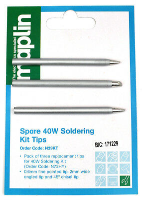 Pack of 3 Tips for Maplin N72HY 40W Soldering iron N29KT (or individual tips)