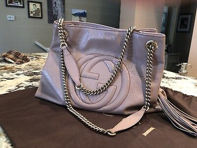 5f4aa35ebacd30 Gucci Soho Rose Patent Leather Chain-Strap Tote Handbag Shoulder Bag  Authentic
