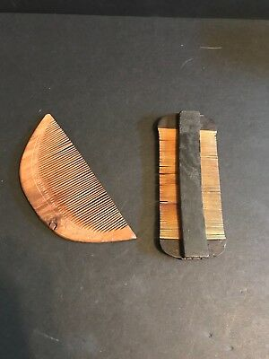 2 VTG. Handmade Wooden ASIAN/JAPANESE Hair Vanity Combs Double w/Engraved Handle