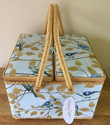 SEWING BOX BASKET Large Twin Lid Square 'FLY AWAY' DESIGN SUPER QUALITY