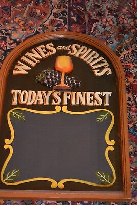 """3D Carved Wood Wine & Spirits Today's Finest Menu Chalkboard Wall Sign 24"""" Tall"""