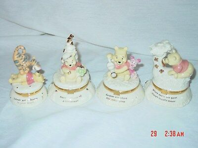 Lenox Pooh Trinket Boxes Set of 4 with trinkets