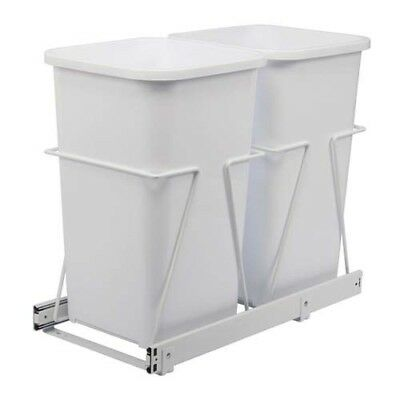 19 In Steel Cabinet 27 Qt Double Pull Out Trash Can White Garbage