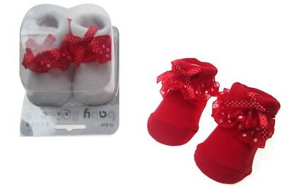 Baby Girls Red & White Polka Dot Spots Socks with Bows Gift Box 0-6 Months