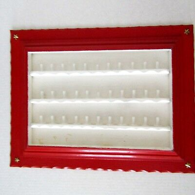 Bright Red & White Hand Crafted Thimble Wooden Wall Mounted Display