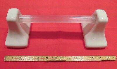 "1 pair…*Glossy White* Ceramic Towel Bar Brackets-Post with 24"" pole   New Stock"