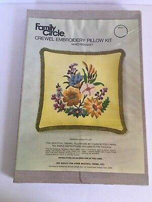 Vintage Family Circle Crewel Embroidery Pillow Kit Mixed Bouquet