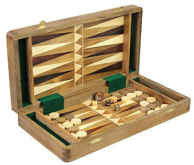 2 in 1 CHESS & BACKGAMMON SET - HANDMADE SOLID INLAID SHEESHAM WOOD GAME BOARD