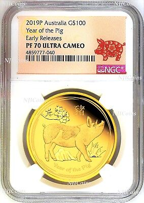 2019 P Australia PROOF GOLD $100 Lunar Year of the PIG NGC PF70 1 oz Coin ER