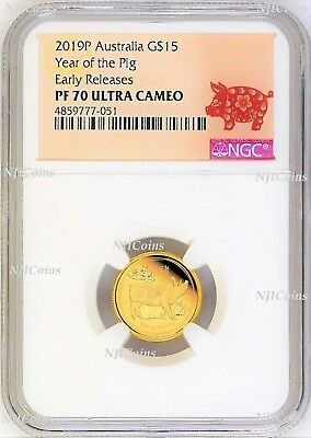 2019 P Australia PROOF GOLD $15 Lunar Year of the PIG NGC PF70 1/10 oz Coin ER