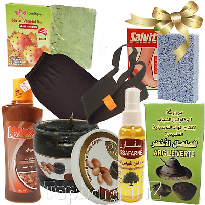 8pcs Moroccan Hammam Argan Oil Beldi Soap Shampoo Kessa Kit Exfoliation Gift Set
