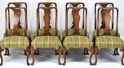 Mahogany Set of 8 Queen Anne Dining Chairs Williamsburg Style att Kittinger