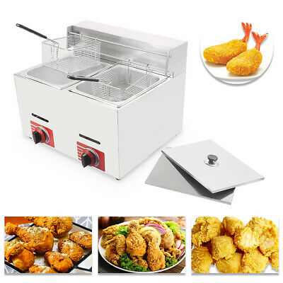 Commercial Countertop Gas Fryer, 2 Basket, GF-72 Propane (LPG) with metal tube