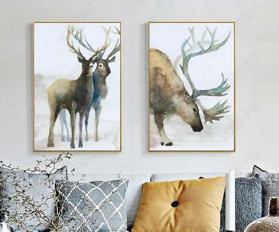 Modern Abstract Painting Elk Forest HD Prints on Canvas Home Wall Decoration 2P