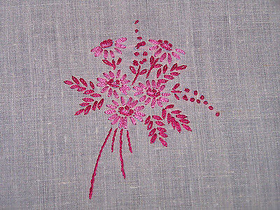 Fabulous Vintage Embroidered Linen Runner, Doily, Pink Floral, French Knots,1940