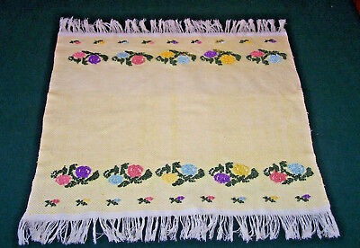 UNUSUAL VINTAGE FOLK ART EMBROIDERED TABLECLOTH, TOPPER, FLORAL THEME, c1930
