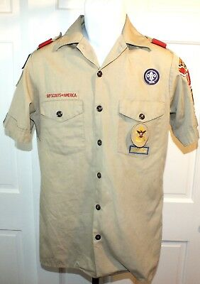 Vintage 1993 Boy Scout Tan Shirt Eagle Scout Size Small Halloween Costume B77