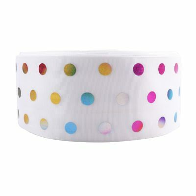 """2Yards/roll 3""""(75mm) Colorful Foil Dots Grosgrain Ribbon DIY Hairbows Materials"""