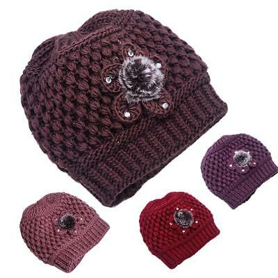 f9cc55e9150 Autumn Winter Mother Elderly Grandmother Flower Knitted Hat Soft Warm Beanie  Cap
