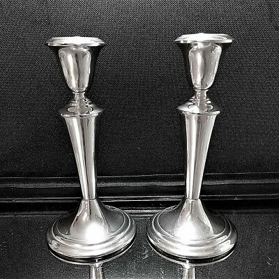 """2 VINTAGE GORHAM Sterling Silver Candle-holders Candle Sticks #818  7.5"""" Tall"""